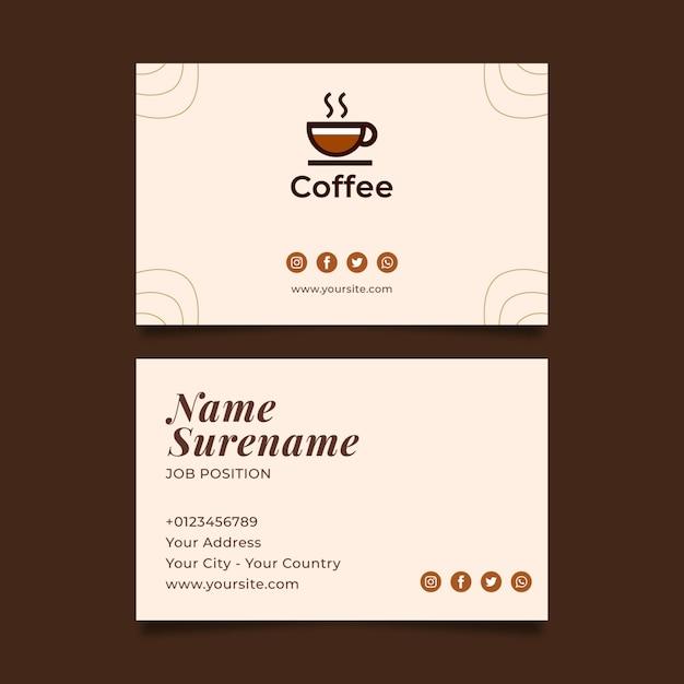 Горизонтальная кофейная визитка премиум-класса Бесплатные векторы