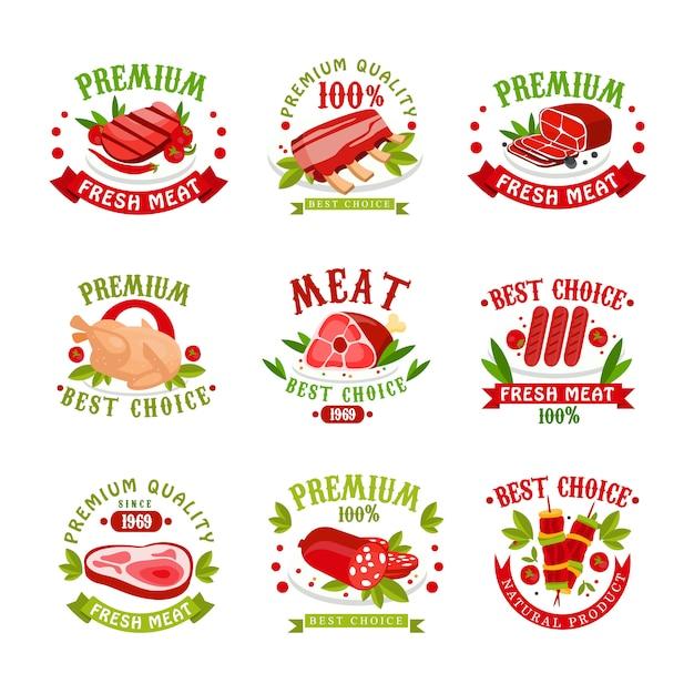 Premium quality fresh meat logo templates set, best choice since 1969 badge,  illustrations for butchery, meat shop Premium Vector