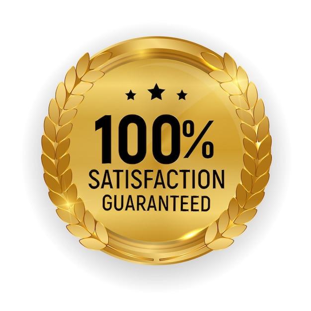 プレミアム品質のゴールドメダルバッジ。白い背景で隔離の100満足保証サイン。 Premiumベクター
