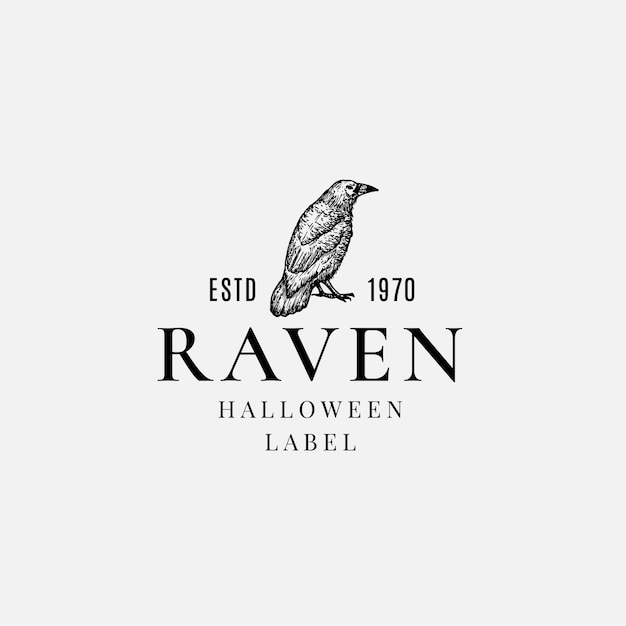Premium quality halloween logo or label template. hand drawn evil raven or crow sketch symbol and retro typography. Premium Vector
