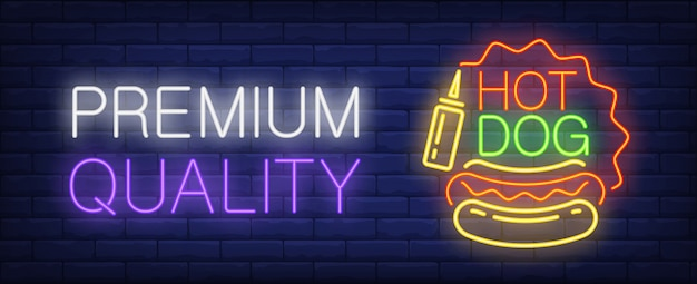 Premium quality hotdog neon sign. sausage, bun and mustard. Free Vector