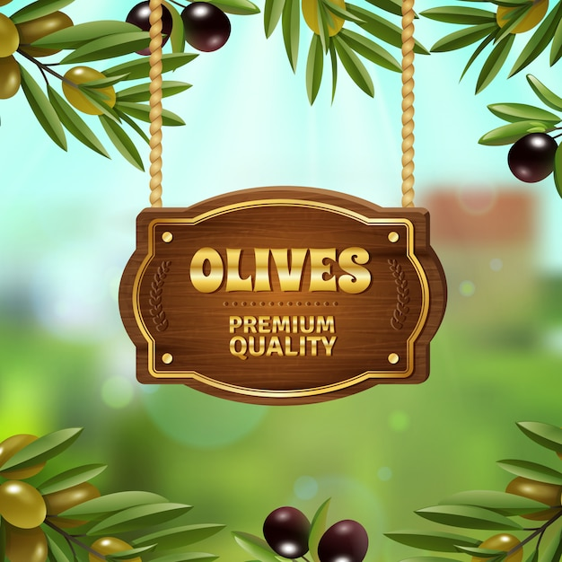 Premium quality olives background Free Vector