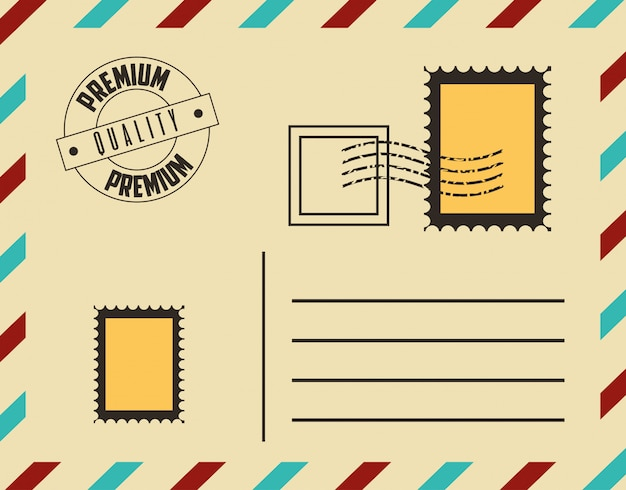 Premium quality postcard with stamps Free Vector