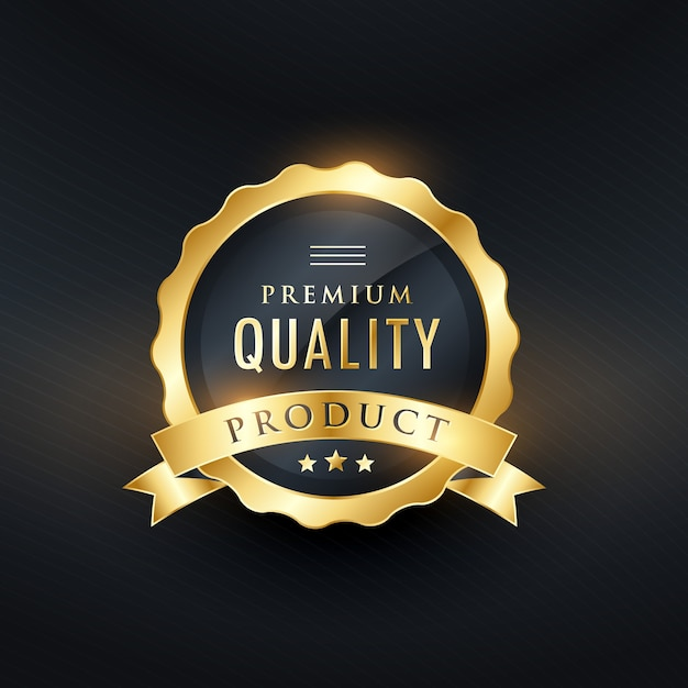 Premium quality product golden label design Free Vector