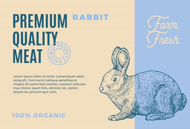 프리미엄 품질 토끼. 추상 고기 포장 또는 레이블. 현대 타이포그래피와 손으로 그린 토끼 스케치 실루엣 배경 레이아웃 프리미엄 벡터