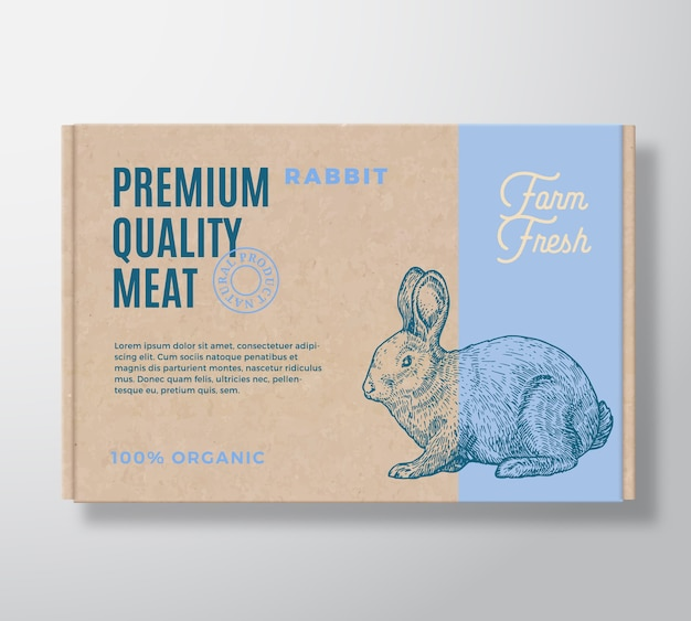 Premium quality rabbit  meat packaging label  on a craft cardboard box container. Free Vector