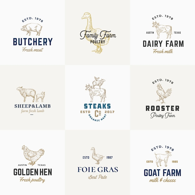 Premium quality retro cattle and poultry signs or logo templates set. hand drawn vintage domestic animals and birds sketches with classy typography, pig, cow, chicken, etc. Premium Vector