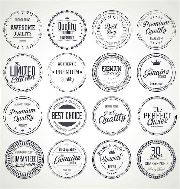 Premium quality retro grunge badges collection Premium Vector