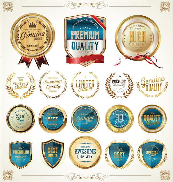 Premium quality retro vintage labels collection Premium Vector