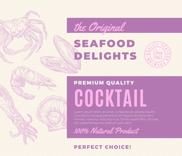プレミアム品質のシーフード料理のカクテル 無料ベクター