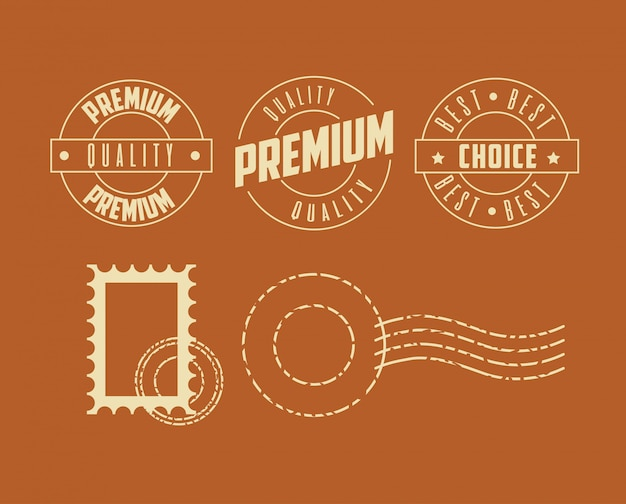 Premium quality stamp set Free Vector