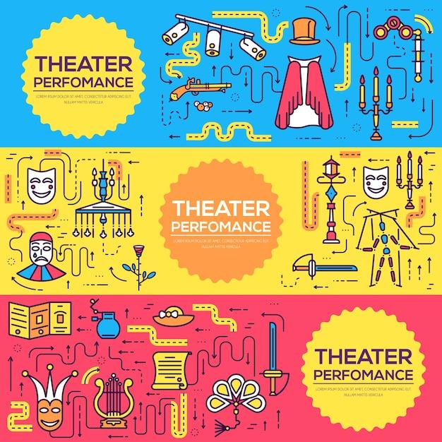 プレミアム品質の劇場概要アイコンインフォグラフィックセット Premiumベクター