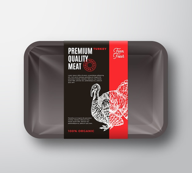 프리미엄 품질의 칠면조 고기 패키지 및 라벨 스트라이프. 셀로판 덮개가있는 식품 플라스틱 트레이 용기. 포장 레이아웃. 타이포그래피와 손으로 그린 터키 실루엣 배경입니다. 프리미엄 벡터