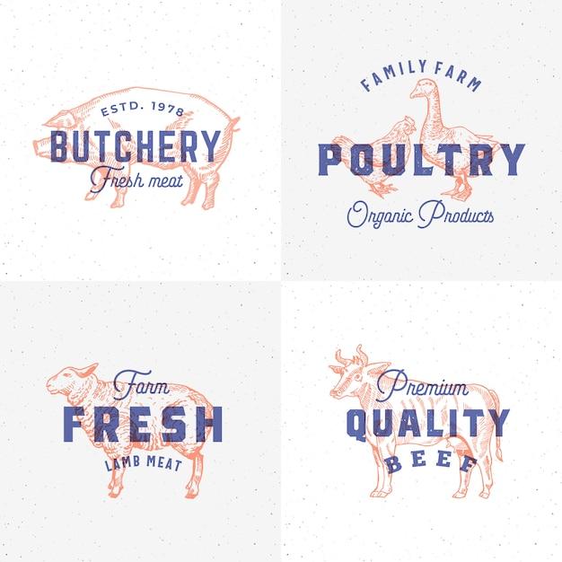 プレミアム品質のビンテージ肉と家禽のラベル。レトロなプリント効果のエンブレム。抽象的な記号、記号またはロゴのテンプレートセット。手描きの牛、豚、子羊、ガチョウ、鶏のシルエット。分離されました。 Premiumベクター
