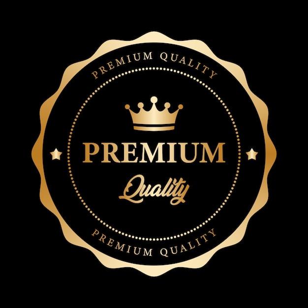 プレミアム品質保証ブラックゴールド光沢メタリック Premiumベクター