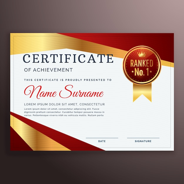 Premium red and golden certificate design template vector free premium red and golden certificate design template free vector yadclub Image collections