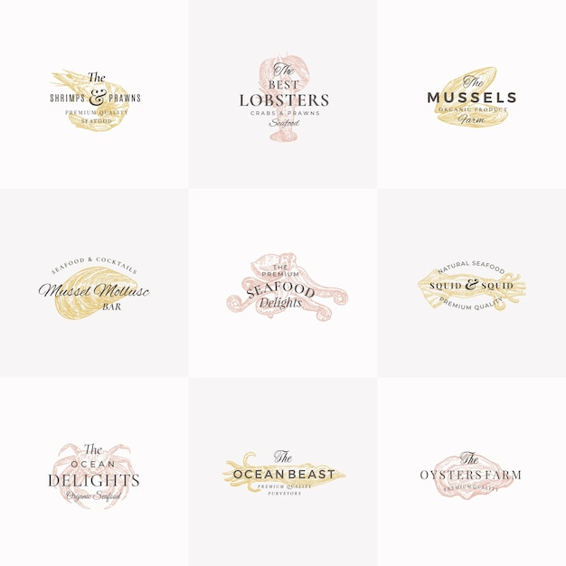 Premium seafood abstract  signs, symbols or logo templates set. Free Vector