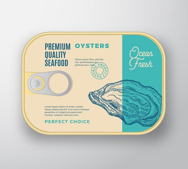 Premium seafood aluminium container with label cover. Free Vector