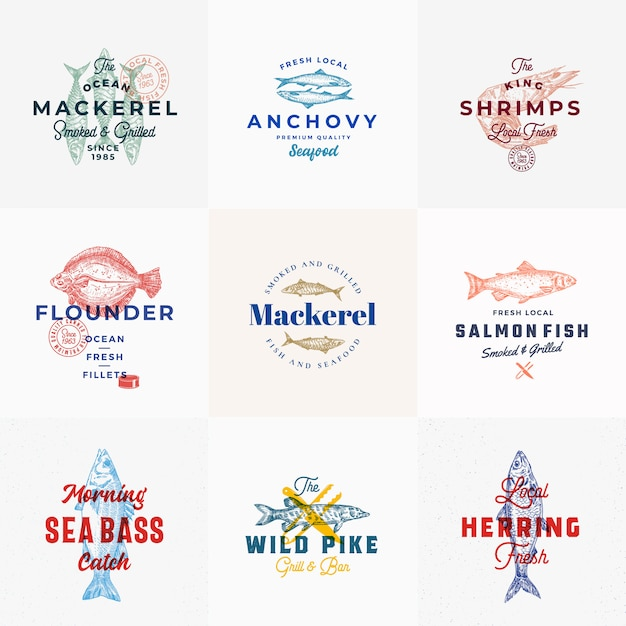 Premium seafood logo template set with hand drawn fishes Premium Vector