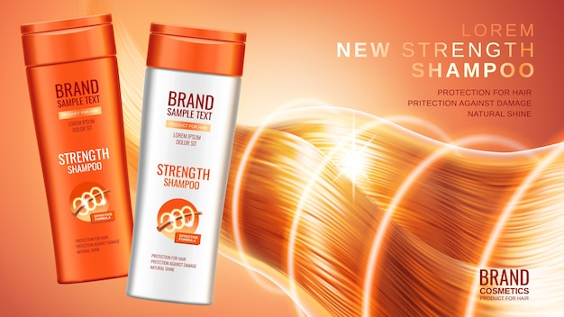 Premium shampoo ads, realistic cosmetic bottles of shampoo with different packaging