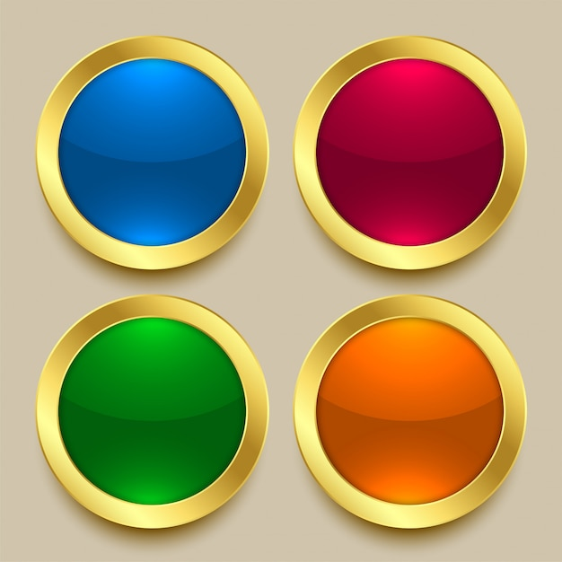 Premium shiny golden buttons in different colors Free Vector