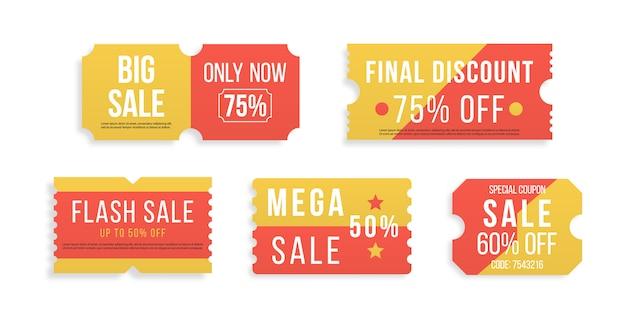 프리미엄 특별 가격은 판매 쿠폰 또는 최고의 프로모션 소매 가격 쿠폰을 제공합니다. 절반 가격 제공, 흰색 바탕에 큰 슈퍼 판매 쿠폰 할인. 빨간색 티켓 및 레이블 집합입니다. 삽화 프리미엄 벡터