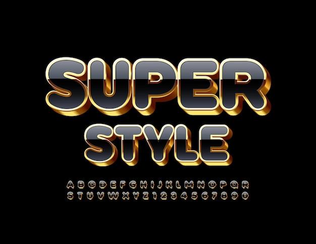 프리미엄 템플릿 슈퍼 스타일. 반짝이는 검정색과 금색 글꼴. 3d 럭셔리 알파벳 문자와 숫자 세트 프리미엄 벡터