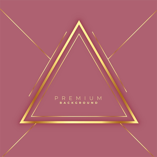 Premium triangles golden lines frame background Free Vector