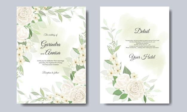 Элегантная свадебная открытка с красивыми цветочными и листьями шаблона premium vector Premium векторы