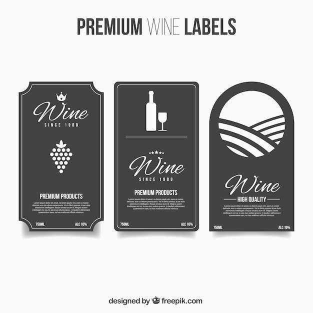 Premium wine labels in flat style Vector – Free Wine Label Design