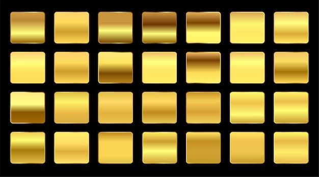 Премиум-градиенты из желтого золота, большой набор Бесплатные векторы