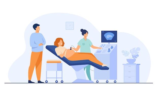 산전 관리 . sonographer 스캔 및 모니터를보고 아버지를 기대하는 동안 임신 한 여자를 검사합니다. 건강 진단, 초음파 검사, 초음파 검사 주제에 대한 벡터 일러스트 레이션 무료 벡터