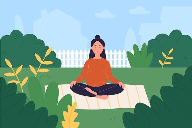 태아기 요가, 정신적 또는 신체적 건강을 돌보는 만화 임산부, 정원에서 요가를하고 프리미엄 벡터