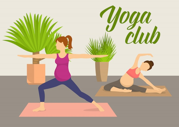 Prenatal yoga fitness club vector illustration.  pregnant women practising yoga pilates in fitness club with green plants. female cartoon characters doing balancing yoga poses. Premium Vector