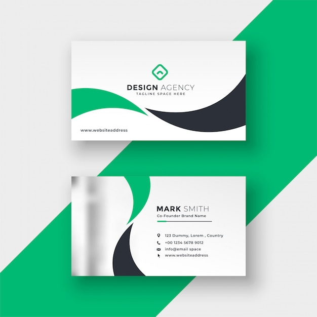 Preofessional elegant green business card design Free Vector