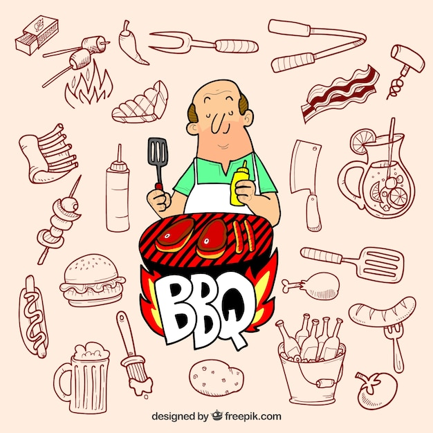 Preparing barbecue - collection of hand drawn elements Free Vector