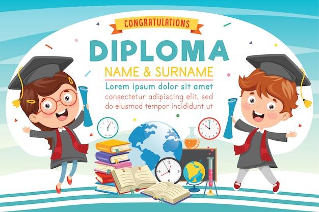 Preschool elementary school diploma Premium Vector