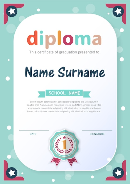 就学前の子供の卒業証明書の背景デザインテンプレート Premiumベクター