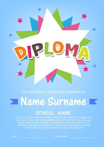 就学前の子供の卒業証明書の背景テンプレート Premiumベクター