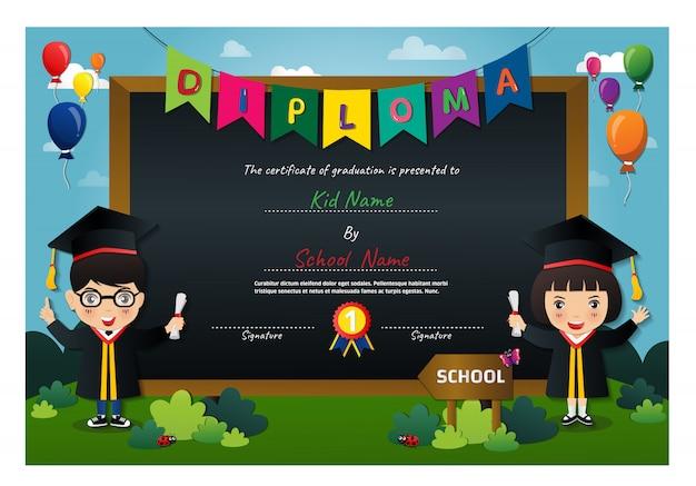Preschool kids diploma certificate Premium Vector