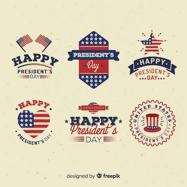Presdient's day label collection Free Vector