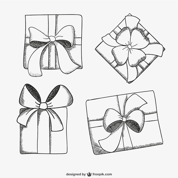 present box sketch drawings vector free download