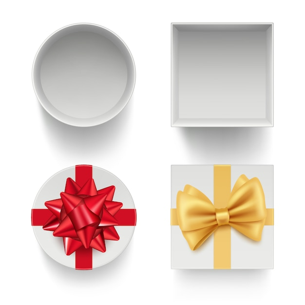 Present boxes with bows. gifts celebration packages with colored ribbons red and golden template isolated Premium Vector