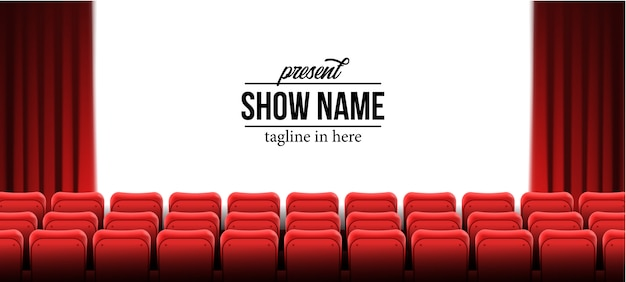 Present show name template with red empty seats at cinema movie theater Premium Vector