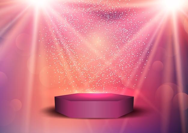 Фон для презентации с подиумом в свете прожекторов Бесплатные векторы