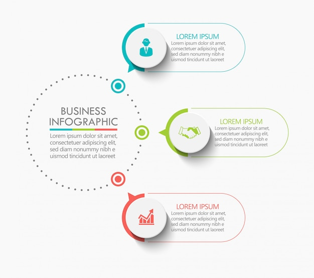 Presentation business circle infographic template with 3 options. Premium Vector