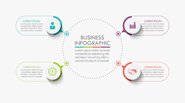 Presentation business circle infographic template with 4 options. Premium Vector