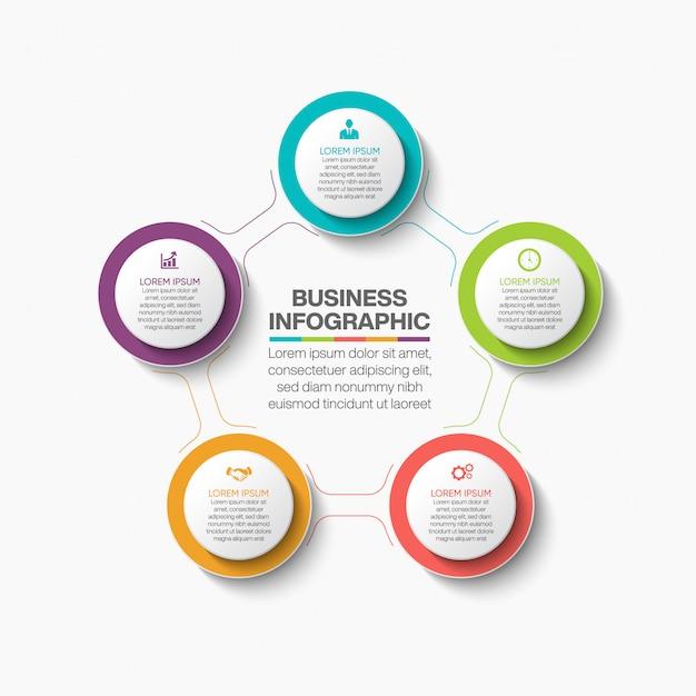 Presentation business circle infographic template Premium Vector