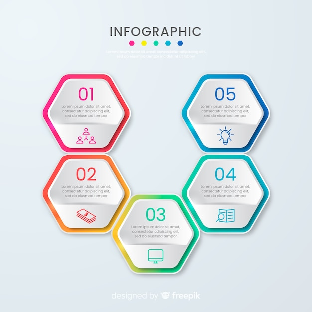Presentation business honeycomb infographic template Free Vector