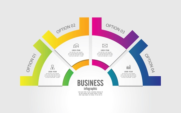 Presentation business infographic colorful template with steps Premium Vector